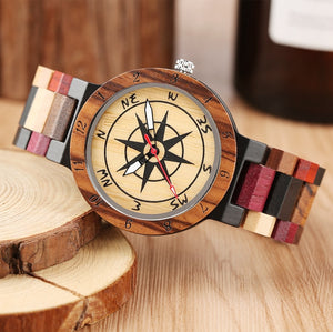 Luxury Wood Watch with Unique Compass Dial for Men, Women or Couples