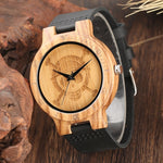 Load image into Gallery viewer, Unique One Piece Wood Watch for Men, Engraved Skull Dial