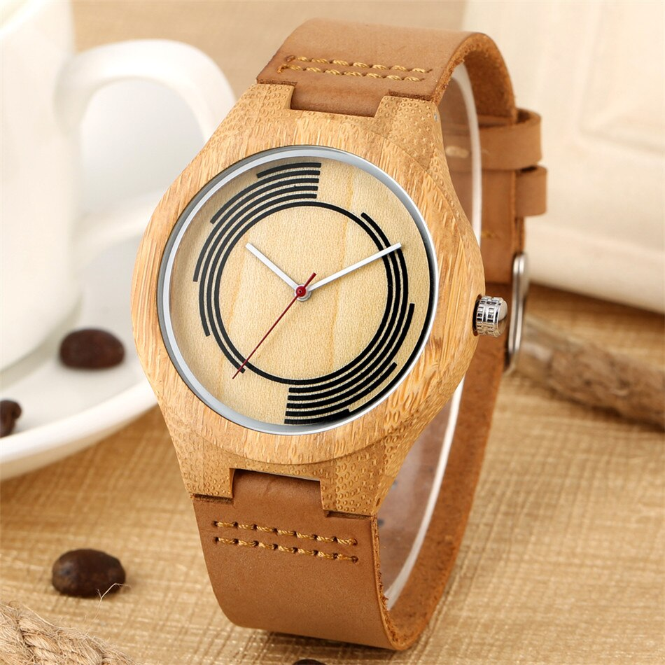 Eco-Friendly Bamboo Watch for Men with Creative Round Design