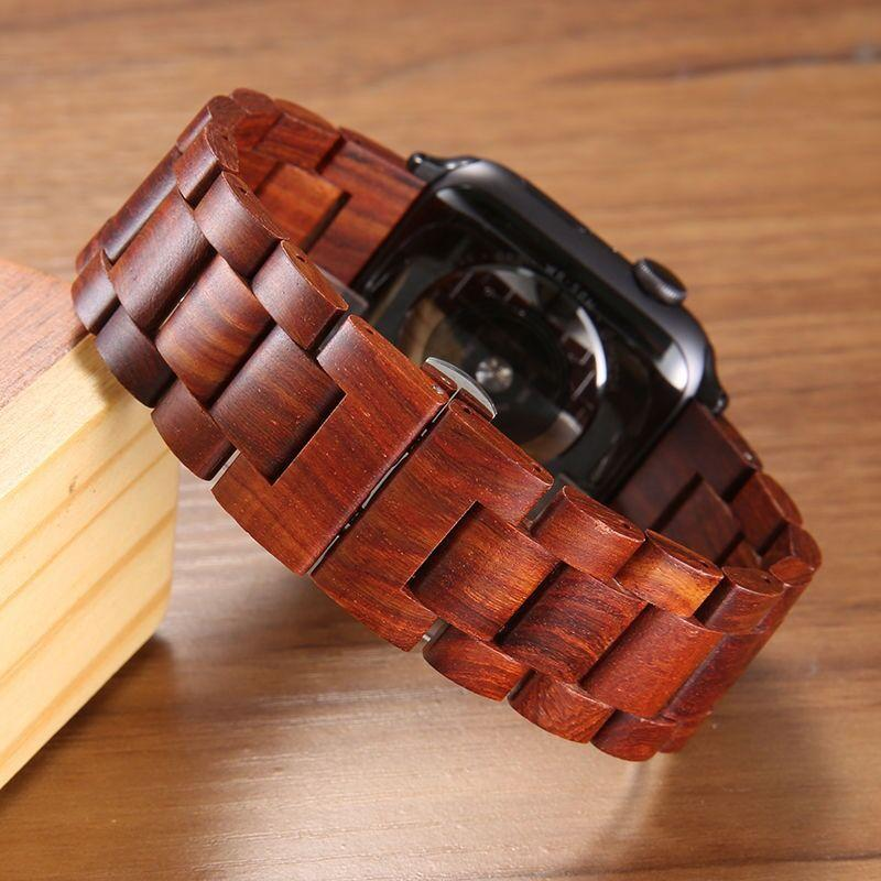 Wood Strap for Apple Watch in Natural Red Sandalwood + Stainless Steel - Pieces of Wood