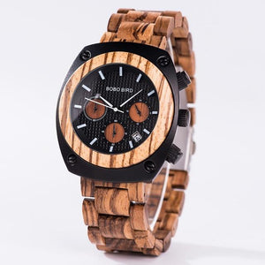 Handmade Wooden Watch for Men with Stopwatch - Pieces of Wood