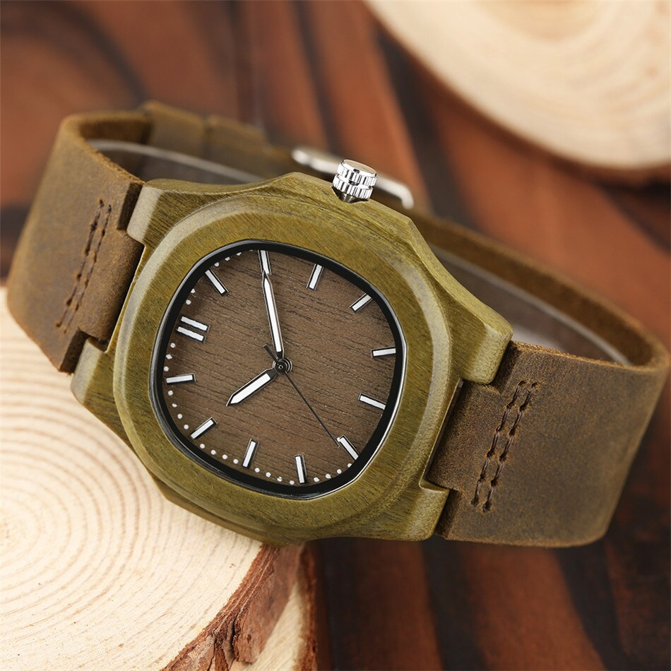 Unique Women's Watches with Square Wooden Face