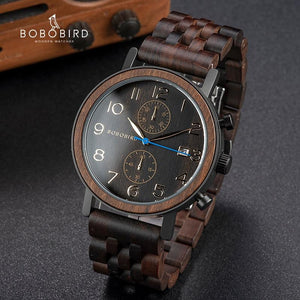 BOBO BIRD Wooden Men's Watch, Japanese Movement Quartz Watch - Pieces of Wood