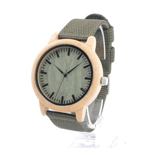 Wood Bamboo Watch for Men or Women, Soft Nylon Band, Gift Box - Pieces of Wood.