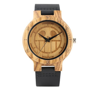 Unique One Piece Wood Watch for Men, Engraved Skull Dial