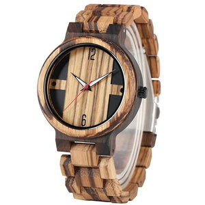Antique Style Men's Wood Watches with Vintage Ebony Wood
