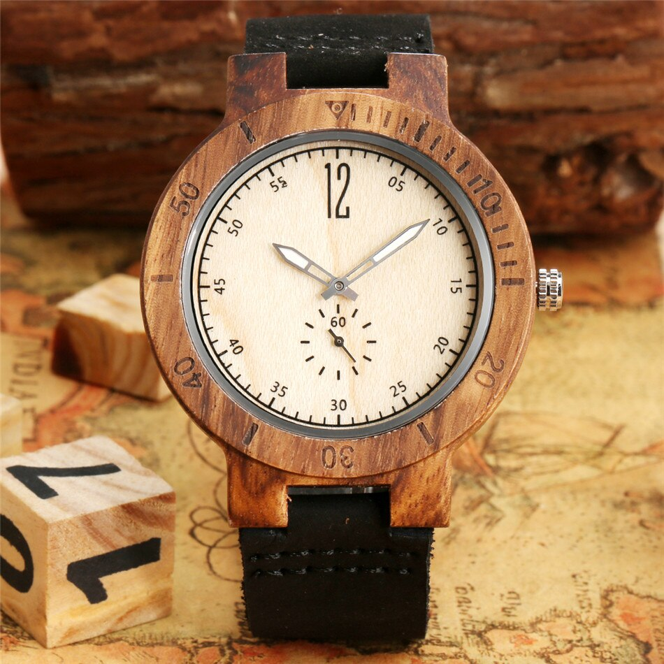 Creative Seconds Small Dial Luminous Pointer Wood Watch for Men
