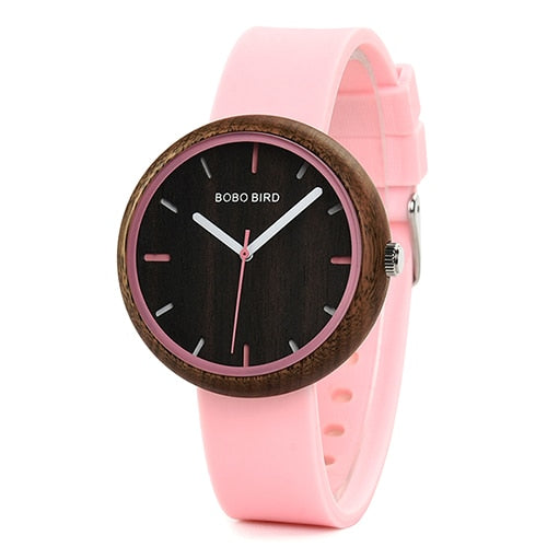 Wood Women's Watch with Colourful Band in Wooden Gift Box