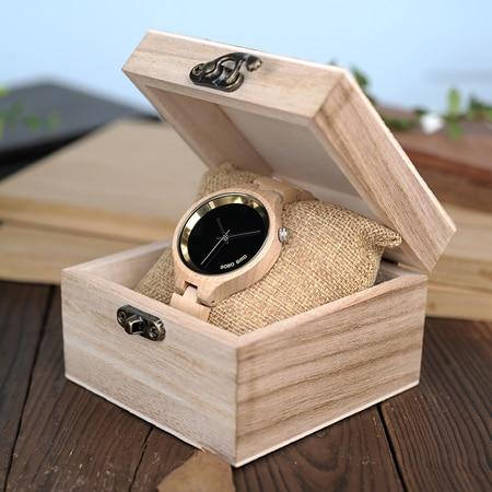 BOBO BIRD Wooden Women's Watch at 4 o'clock Slant - Pieces of Wood