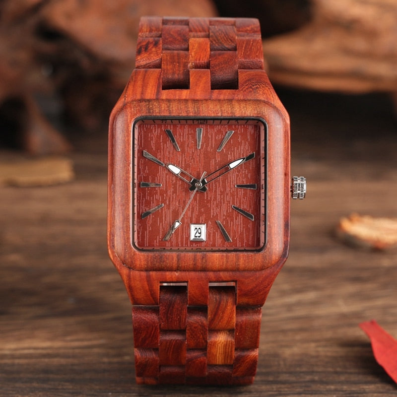 Red Sandalwood Wood Watch for Men, Rectangle with Calendar