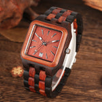 Load image into Gallery viewer, Red Sandalwood Wood Watch for Men, Rectangle with Calendar