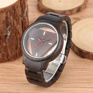 Unique Inverted Geometric Triangle Wood Watch for Men or Women - Pieces of Wood