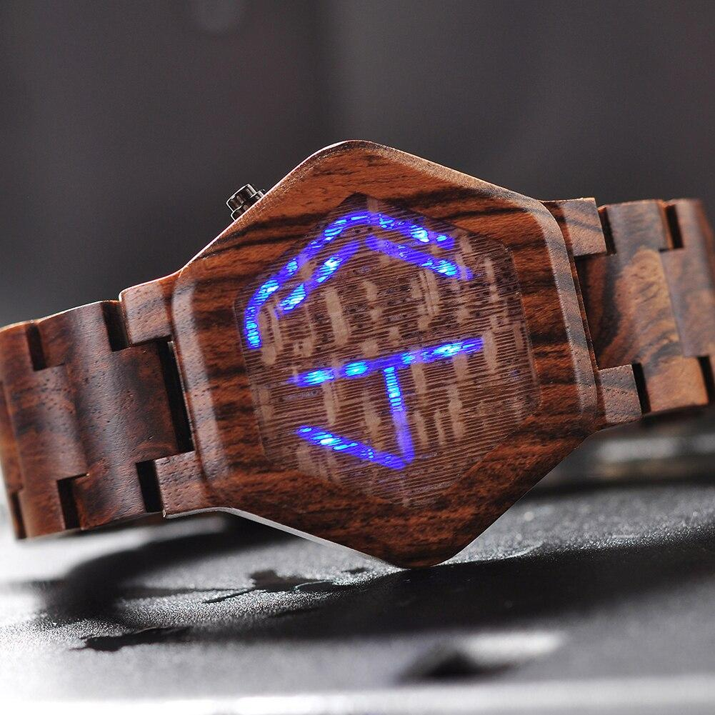 Wooden Digital Watch For Men | LED Night Vision Minimal Time Display - Pieces of Wood