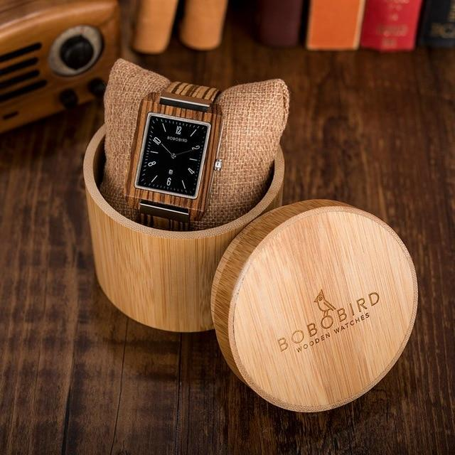 Wooden Watches for Men in Bamboo Gift Box - Pieces of Wood