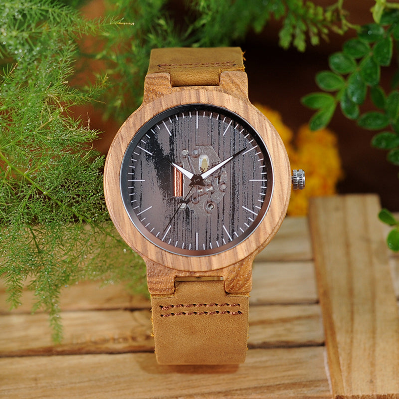 Men's Wooden Watch with Real Leather Band