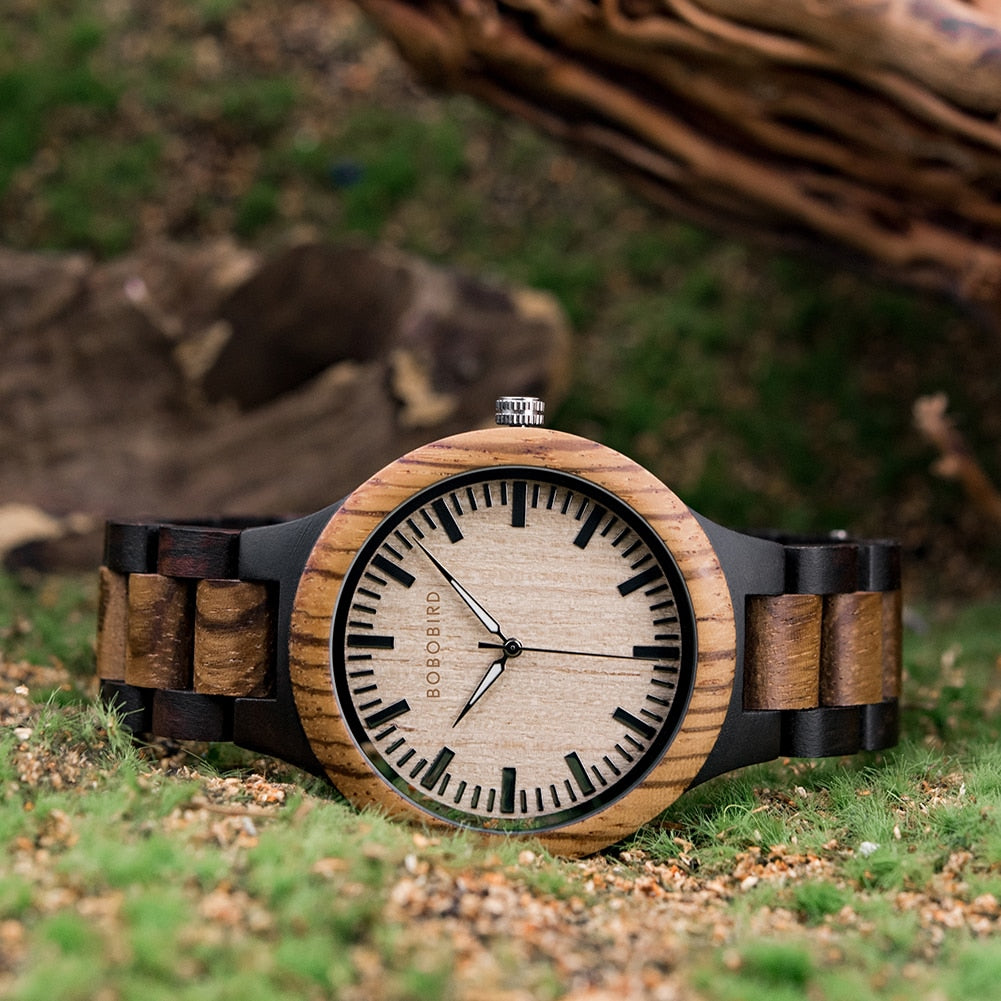 Zebra Wood Quartz Watches for Women, Couples or Men
