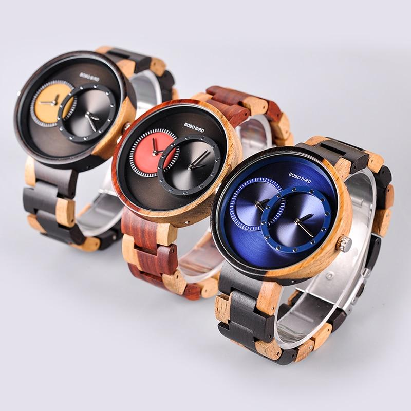 Two Time Zone Wooden Quartz Watch in Wood Box, for Men/Women/Couples - Pieces of Wood