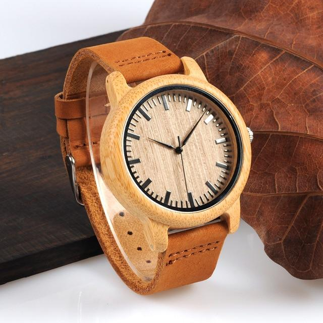 Mens Watch | Bamboo Wristwatch with Leather Strap - Pieces of Wood