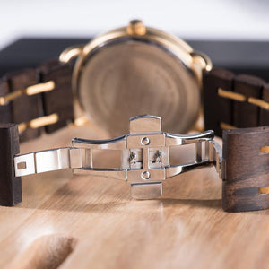 Simple Stylish Date Display Watch for Men with  Wooden Gift Box