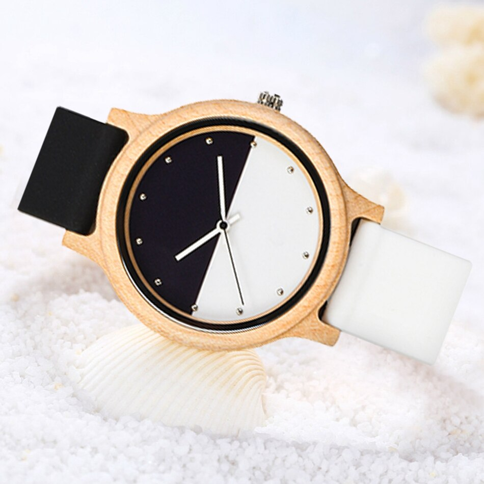 Simple Bamboo Wooden Watch for Men or Women with Unique Two-Colour Face