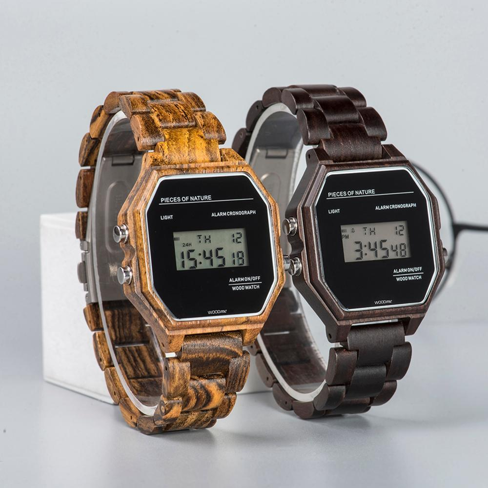 Retro Luminous Digital LED Wristwatch for Men/Women With Alarm Clock - Pieces of Wood