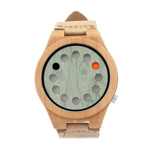 Men's Digital Quartz Wooden Watch With Genuine Leather Band - Pieces of Wood