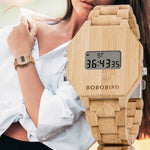 Load image into Gallery viewer, Electronic LED Wooden Watches For Men or Women with Night Vision