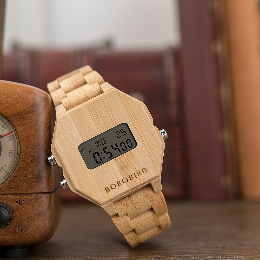 Electronic LED Wooden Watches For Men or Women with Night Vision