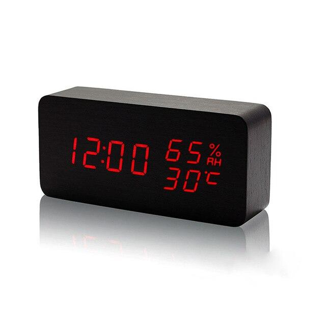 LED Wooden Alarm Clock, USB/AAA Powered Electronic Desktop Clock - Pieces of Wood