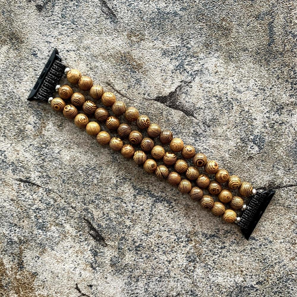 Handmade Natural Retro Wood Beads For Apple Watch Strap - Pieces of Wood
