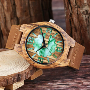 Double Green/White Unique Dial Wrist Watch for Men