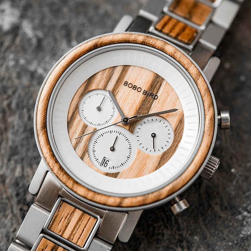 Luxury Wristwatch for Men with Stainless Steel & Wood in Gift Box