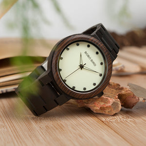 Men's Watch with Luminous Dial & Wooden Strap