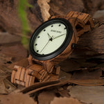 Load image into Gallery viewer, Men's Watch with Luminous Dial & Wooden Strap