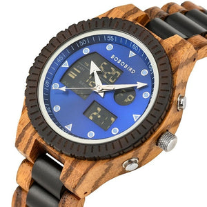 Zebra Wood Watch For Men with Dual Display