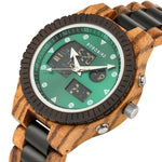 Load image into Gallery viewer, Zebra Wood Watch For Men with Dual Display