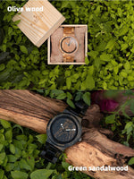 Load image into Gallery viewer, Wooden Men's Quartz Wrist Watch in Custom Green Sandalwood or Olive