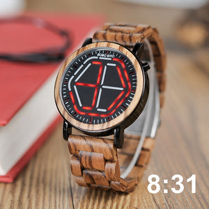 Wooden Digital Watch for Men or Women with LED Time Display in Wooden Gift Box