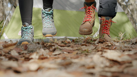 Hiking friends with standard run no tie shoelaces in boots