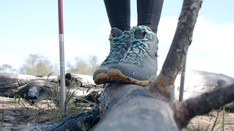 hiking for foot strength and stability with standard run no tie shoelaces in glacier blue