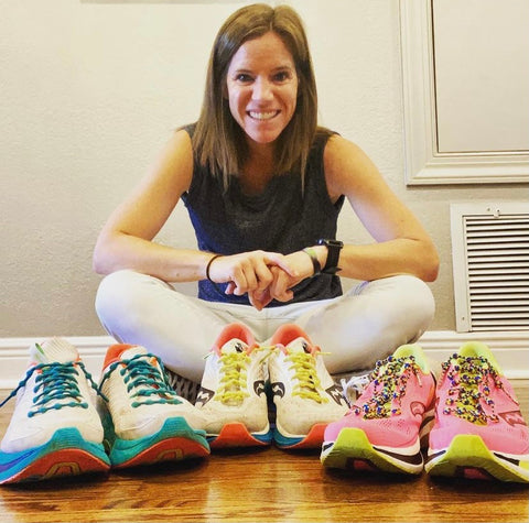 Female runner running shoe collection with no tie shoelaces