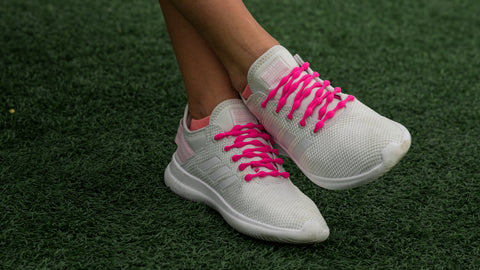Hot Pink Shoelaces on White Sneakers
