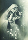 Blessed Mother with the Child Jesus Black/White Print 5X7