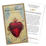 Act of Reparation for Blasphemy - THE GOLDEN ARROW Holy Card.