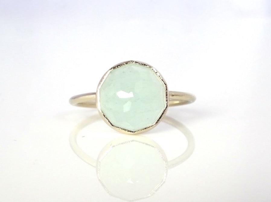 Aquamarine Stacker Ring handcrafted in 14k White Gold