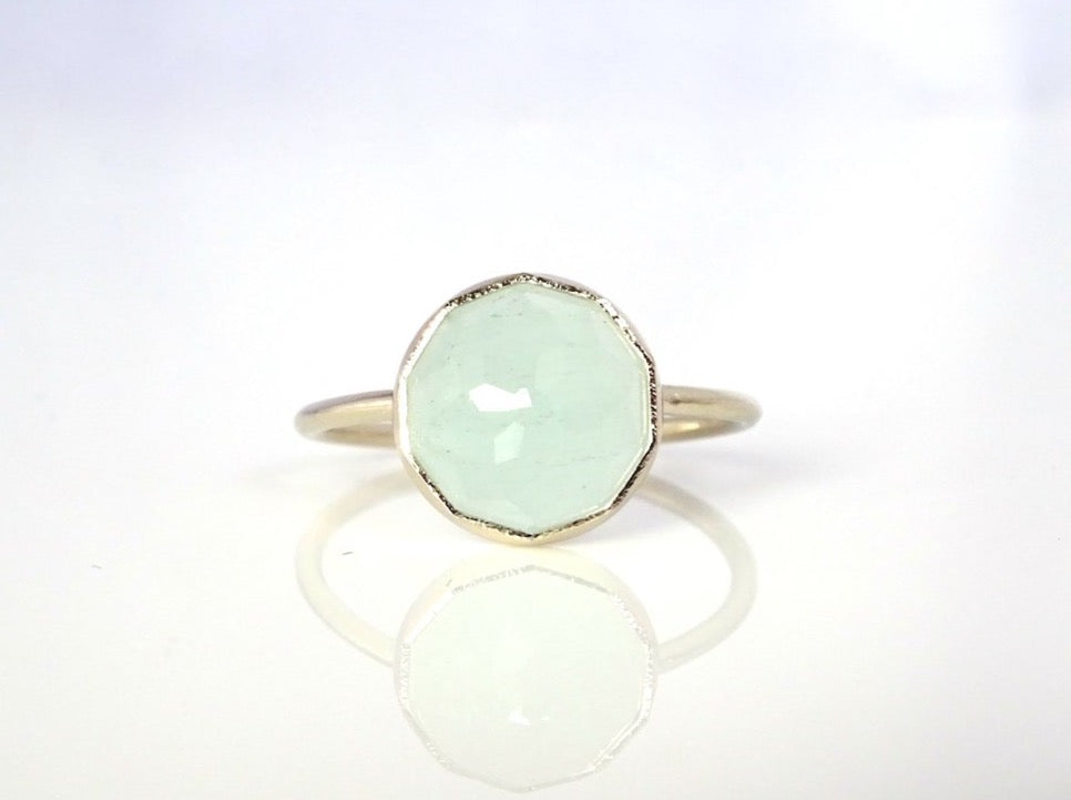 Aqua Chalcedony Stacker Ring