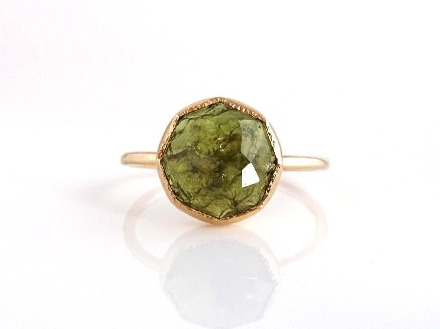 Green Garnet Stacker Ring handcrafted in 14k Yellow Gold