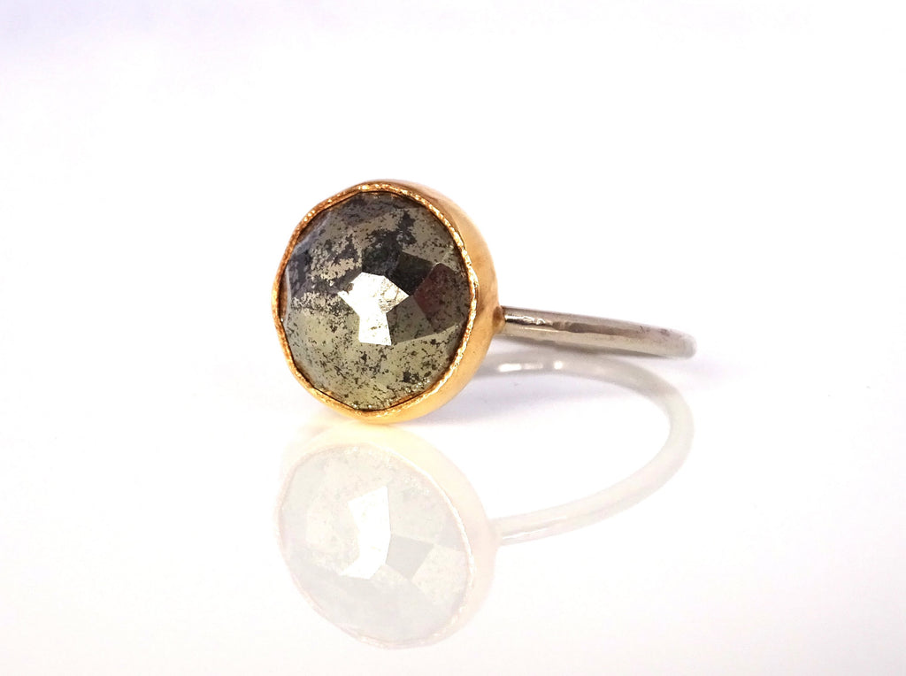 Pyrite Stacker Ring handcrafted in mixed 14k yellow and white gold
