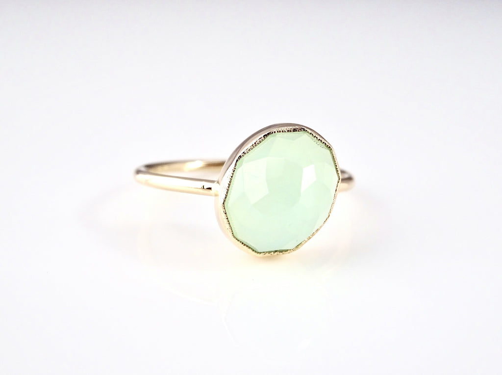 Aqua Chalcedony Oval Stacker Ring
