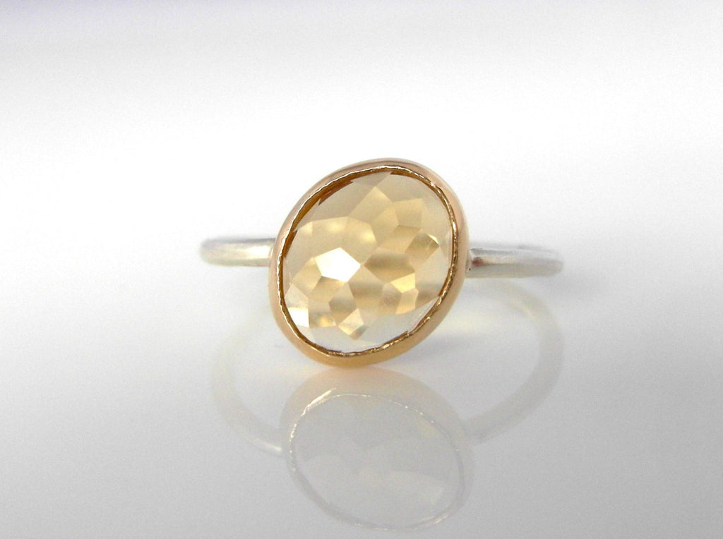 Citrine Oval Stacker Ring handcrafted in mixed 14k Yellow and White Gold